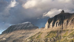 Fast Motion Clouds Move Over Mountains Glacier National Park stock video footage