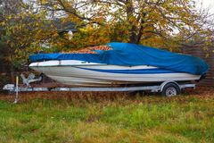 Fast motor boat on truck trailer Stock Photo
