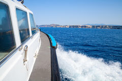 Fast motor boat underway, view from the cabin Stock Photography