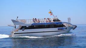 Fast motorboat on Mediterranean Sea, Spain stock video