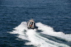 Fast motorboat on the sea Royalty Free Stock Photography