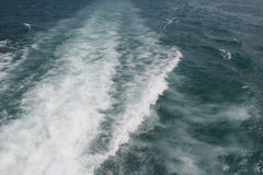 Fast motorboat with splash and wake on an ocean Stock Image