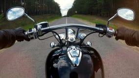 Fast motorcycle ride, handlebar close up. High speed motorcycle ride, handlebar close up. Forest background stock video
