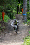 Fast mountain biker racing from ther hill Royalty Free Stock Image