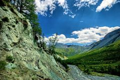 Fast mountain river. Headwaters mountain river. The Tumnin River is the largest river on the eastern slope of the Sikhote-Alin. Range. Far East royalty free stock images