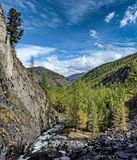 Fast mountain river. Headwaters mountain river. The Tumnin River is the largest river on the eastern slope of the Sikhote-Alin royalty free stock photos