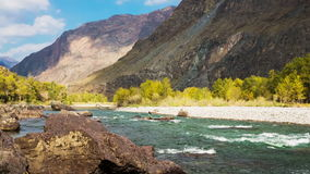 Fast Mountain River. Among the rocks stock footage