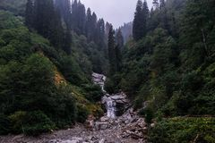 Fast mountain river. Waterfall stock photography