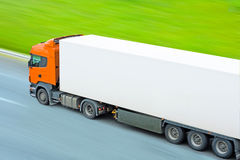 Fast moving blank truck Royalty Free Stock Images