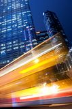 Fast moving bus at night. Picture of a Fast moving bus at night Royalty Free Stock Photography