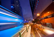 Fast moving bus at night Royalty Free Stock Image