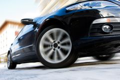 Fast moving car. With motion blur Stock Images