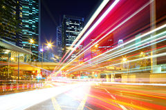 Fast moving car light in city Stock Photo