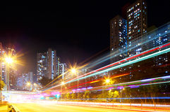Fast moving car light in city Royalty Free Stock Image
