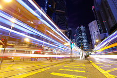 Fast moving car light in Hong Kong Stock Images
