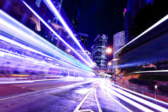 Fast moving car light in Hong Kong Stock Photo