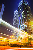 Fast moving car light in Hong Kong Stock Photography