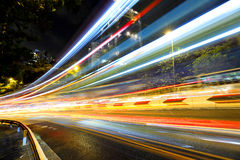 Fast moving car light on road Royalty Free Stock Photo