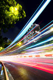 Fast moving car light on street Royalty Free Stock Photos