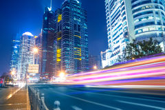 Fast moving cars at night Stock Photo