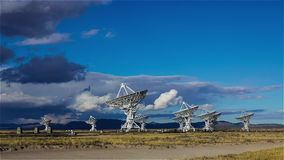 Fast moving clouds over the Very Large Array Radio Observatory stock footage