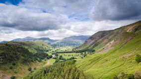 Lake District Valley Time Lapse. Fast Moving Dramatic Cumulus Clouds over Keswick Valley in Lake District, UK stock video