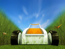 Fast moving lawn mower on grass track Stock Images
