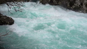 A fast-moving stream of the mountain river stock footage