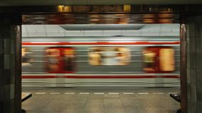 Fast moving subway train Royalty Free Stock Photo