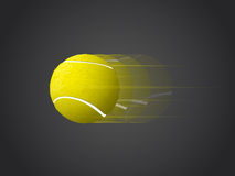 Fast moving Tennis Ball isolated on dark background. Fast movingTennis Ball isolated on dark background with speed lines Royalty Free Stock Photo