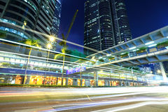 Fast moving traffic trail in Hong Kong Royalty Free Stock Photography