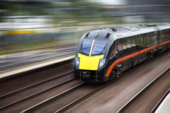 Fast moving train Stock Photos