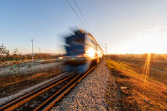 Fast moving train Stock Photography