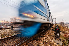 Fast moving train Stock Image