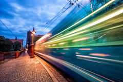 Fast moving tram blurred light trail Royalty Free Stock Image