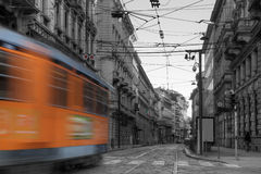 Fast moving tram in Milan Stock Image