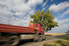 Fast moving truck Stock Photography