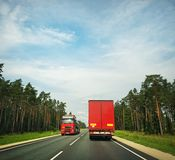 Fast moving truck Stock Photo