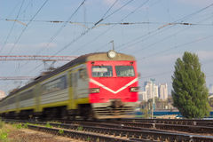 Fast moving urban electric multiple unit Royalty Free Stock Images