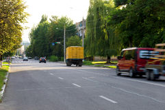Fast-moving vehicles on the highway in the streets Royalty Free Stock Photography