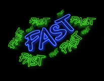 Fast Neon Sign Stock Photo