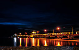 Fast pace. Low Light night long exposure photography. Image of Jetty of Tioman Island at night Stock Photos