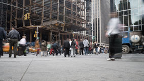 Fast Paced New York Street. Busy street in Manhattan with traffic and foot traffic Stock Photos