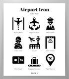 Fast packe för flygplatssymboler royaltyfri illustrationer