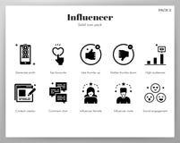 Fast packe för Influencer symboler stock illustrationer
