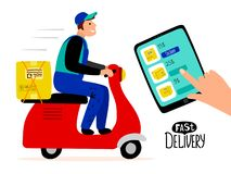 Fast paid delivery vector concept. Delivery man drive scooter illustration. Fast delivery, drive scooter with package stock illustration