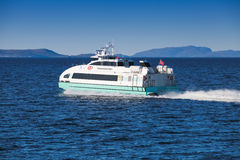 Fast passenger ferry boat Trondheimsfjord Royalty Free Stock Photos