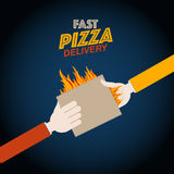 Fast pizza delivery design Stock Photos