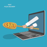Fast Pizza Delivery Vector Illustration. Royalty Free Stock Photos