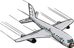 Fast Plane. Hand-drawn cartoon of a passenger plane flying downward fast through the air Stock Photo